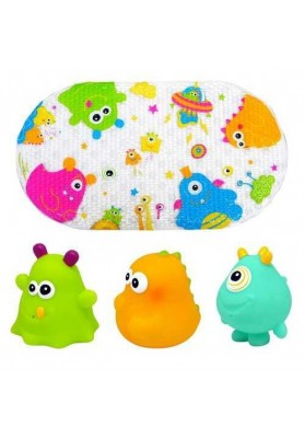 Set tapetes de baño y 3 juguetes Happy Monsters Escabbo