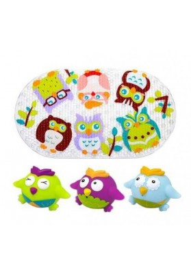 Set bath mats and 3 toys Colorful Owls Escabbo