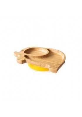 Bamboo plate Elephantel, yellow, eco rascals