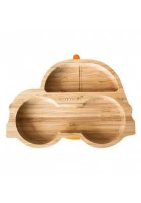 Bamboo plate Masinuta, orange, eco rascals