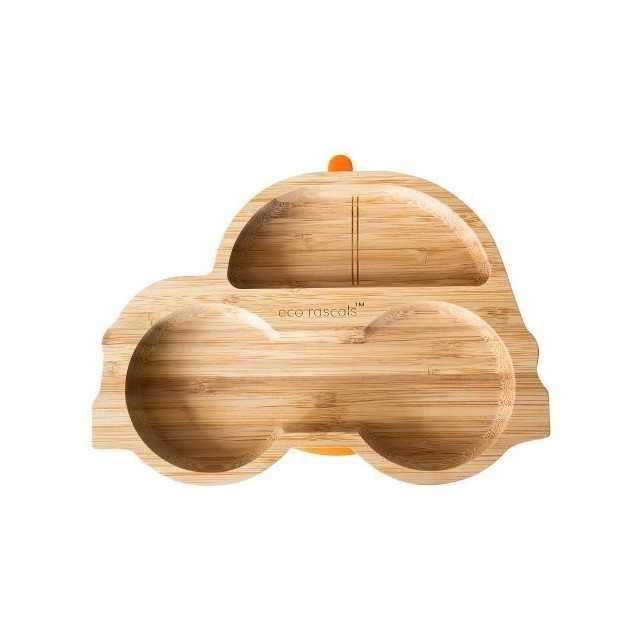 Farfuria din bambus Masinuta, portocaliu, eco rascals