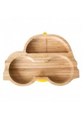 Bamboo plate Masinuta, yellow, eco rascals