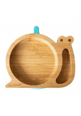 Bamboo plate Snail, blue, eco rascals