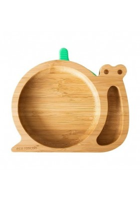 Bamboo plate Snail, green, eco rascals