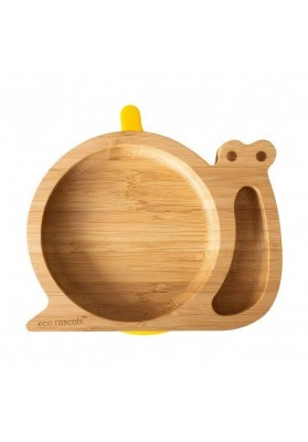 Bamboo plate Snail, yellow, eco rascals