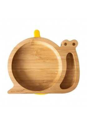 Plaque de bambou Escargot, jaune, coquins écologiques