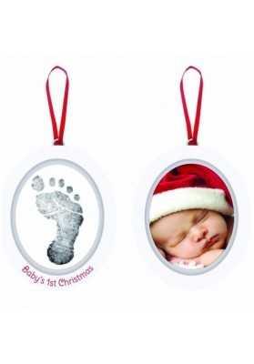 Pearhead - Kit rama foto ovala cu amprenta din cerneala Baby's First Christmas